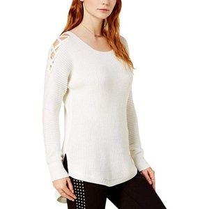 Bar III Sweater Wool Blend High Low Cold Shoulder